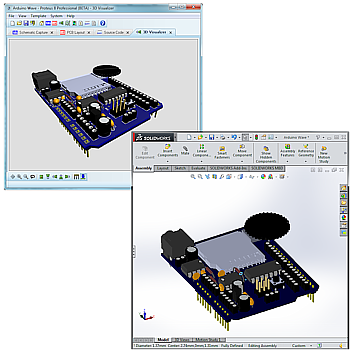 Proteus can export a 3D representation of the PCB with all placed packages in a single STEP assembly file for import to MCAD software.